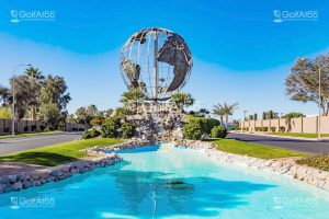Leisure World, globe fountain